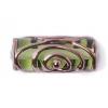 Glass Lamp Bead 20/8mm Roller Transparent Green/Bronze